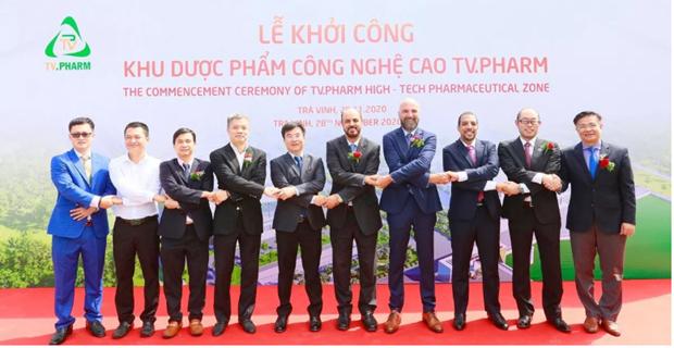 投资总额为6500亿越盾的高新制药区项目在茶荣省动工兴建 hinh anh 1