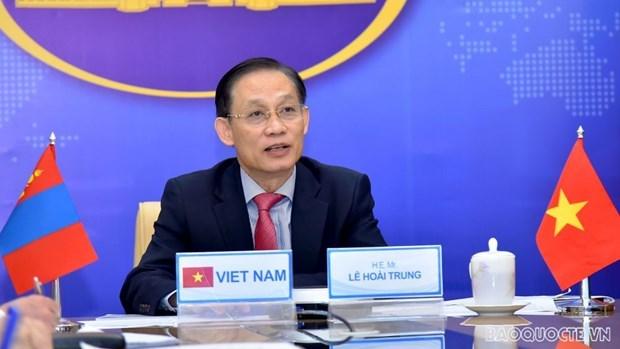 第九次越南-蒙古国外交部副部长级政治磋商以视频方式进行 hinh anh 1