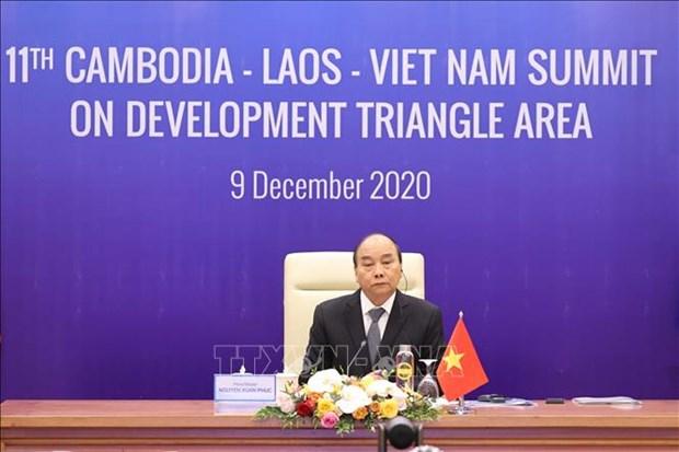 阮春福出席第11届柬老越发展三角区合作峰会 hinh anh 1
