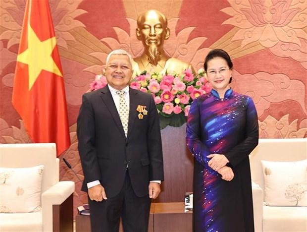 越南国会主席阮氏金银会见新西兰、智利和印尼驻越大使 hinh anh 3