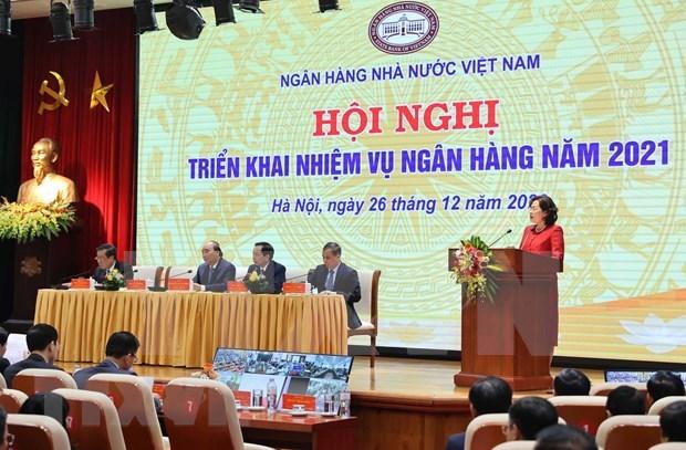 越南政府总理阮春福出席银行部门2021年任务部署会议 hinh anh 2