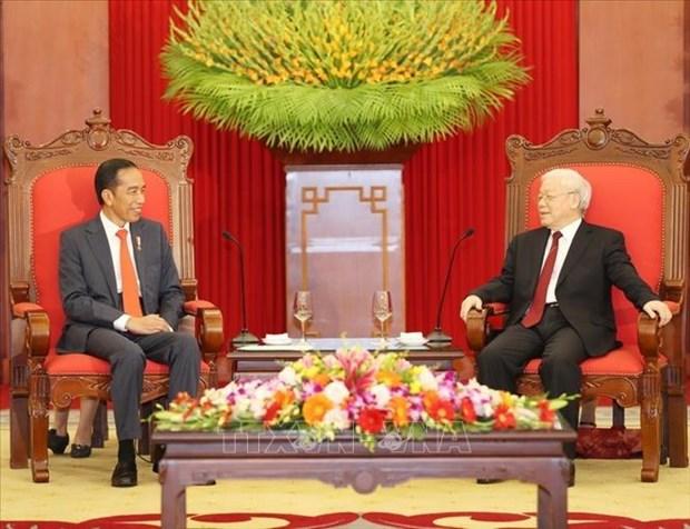 越南党和国家领导人向印尼领导人致贺信 庆祝两国建交65周年 hinh anh 1