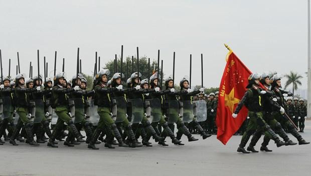 越共十三大安保出征仪式暨安保应急处突演练今日在河内举行 hinh anh 3