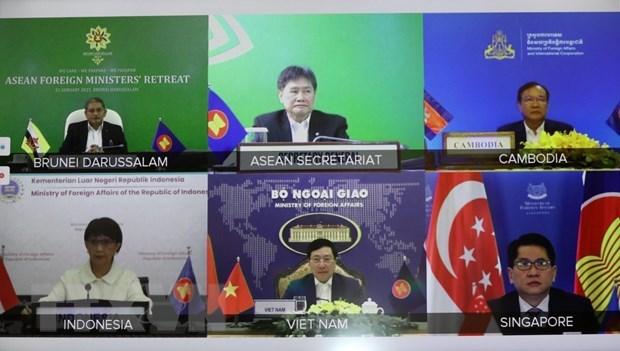 政府副总理兼外长范平明以视频形式出席东盟外长非正式会议 hinh anh 2
