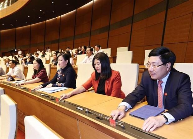 越南第十四届国会第十一次会议:提请国会批准任命2名副总理和12个部委最高领导人 hinh anh 1
