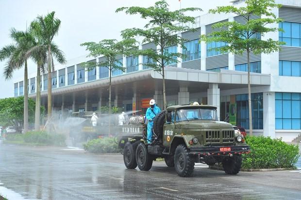 化学兵兵种在中央热带疾病医院进行消毒处理 hinh anh 1