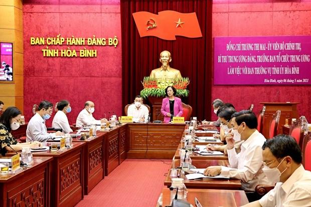 国会和人民议会换届选举:张氏梅视察和平省换届选举准备工作 hinh anh 1