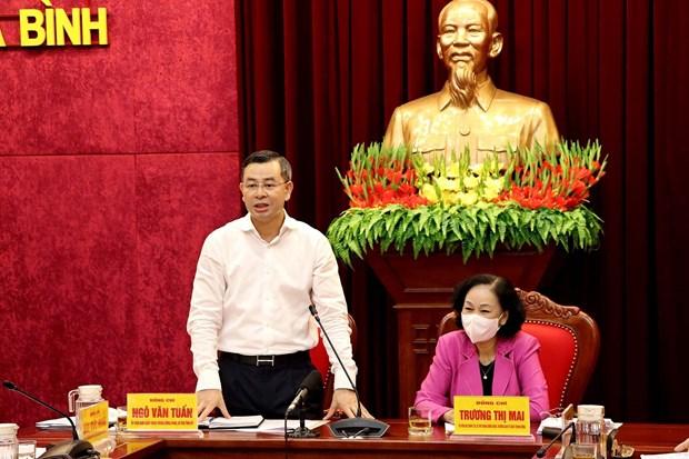 国会和人民议会换届选举:张氏梅视察和平省换届选举准备工作 hinh anh 2