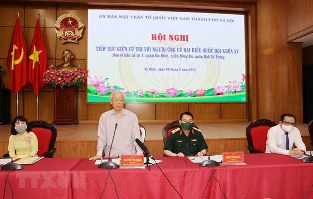 国会和人民议会代表选举:越共中央总书记阮富仲接待河内选民 hinh anh 1
