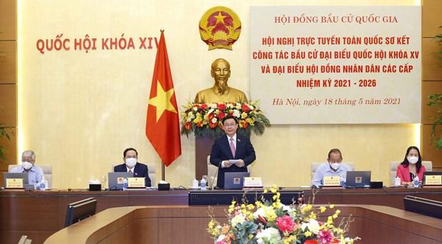 越南国会主席王廷惠主持全国换届选举工作视频会议 hinh anh 1