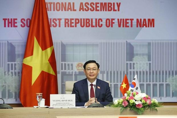 越南国会主席王廷惠与韩国议会议长举行线上会谈 hinh anh 2