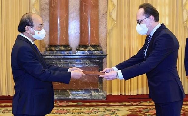 国家主席阮春福接收4国新任驻越大使递交的国书 hinh anh 2