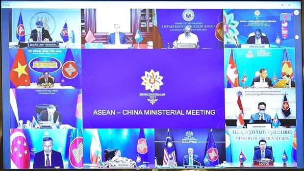 东盟与中国外交部长视频会议:优先配合有效控制新冠肺炎疫情 相互支持可持续复苏 hinh anh 1