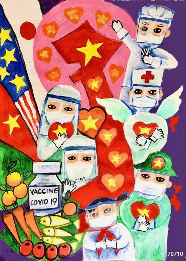 少年儿童作画为新冠疫苗基金募捐2.1亿越盾 hinh anh 1