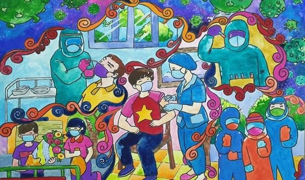 少年儿童作画为新冠疫苗基金募捐2.1亿越盾 hinh anh 2
