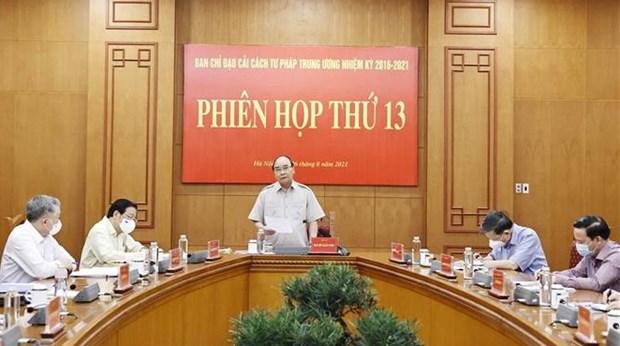 越南国家主席阮春福主持召开中央司法改革指导委员会第13次会议 hinh anh 1