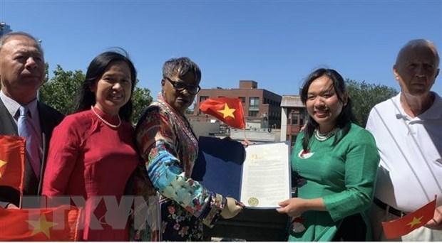 越南国旗升旗仪式在美国泽西市举行 hinh anh 1