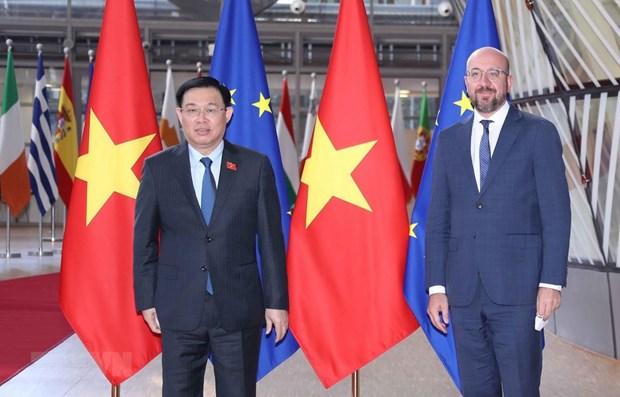 越南国会主席王廷惠会见欧洲理事会主席米歇尔 hinh anh 1