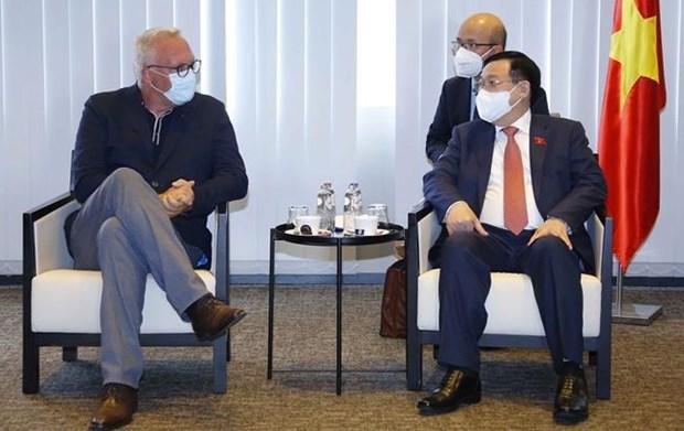 越南国会主席王廷惠会见比利时工人党主席彼得·梅尔滕斯 hinh anh 1