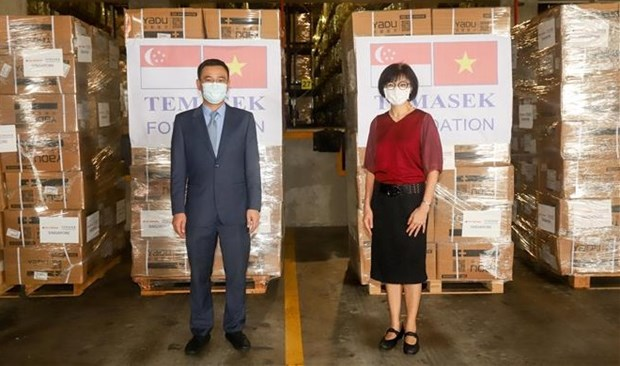 越南驻新加坡大使馆接收淡马锡基金会援越的首批抗疫物资 hinh anh 1