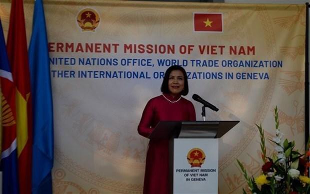 国际朋友在日内瓦出席越南社会主义共和国建国76周年招待会 hinh anh 1