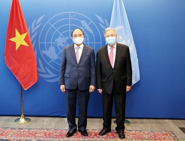 第76届联合国大会:阮春福会见第76届联合国大会主席和联合国秘书长 hinh anh 1