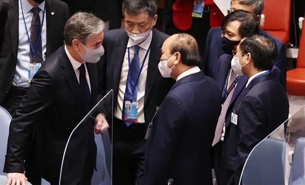 第76届联合国大会:国家主席阮春福会见各国领导 hinh anh 2