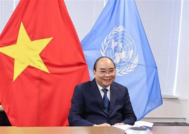 第76届联合国大会:国家主席阮春福会见各国领导 hinh anh 1
