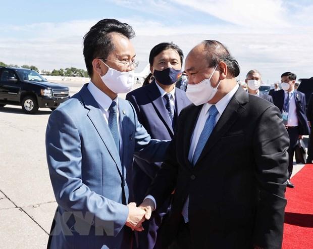 越南国家主席阮春福会见德国总统 离开纽约市启程回国 hinh anh 3