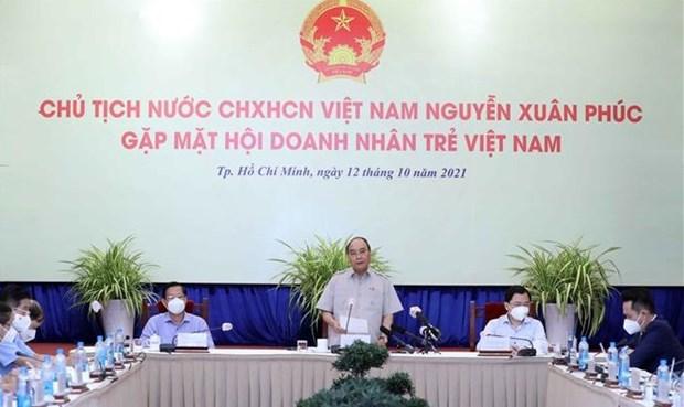 越南国家主席阮春福会见越南青年企业家代表 hinh anh 2