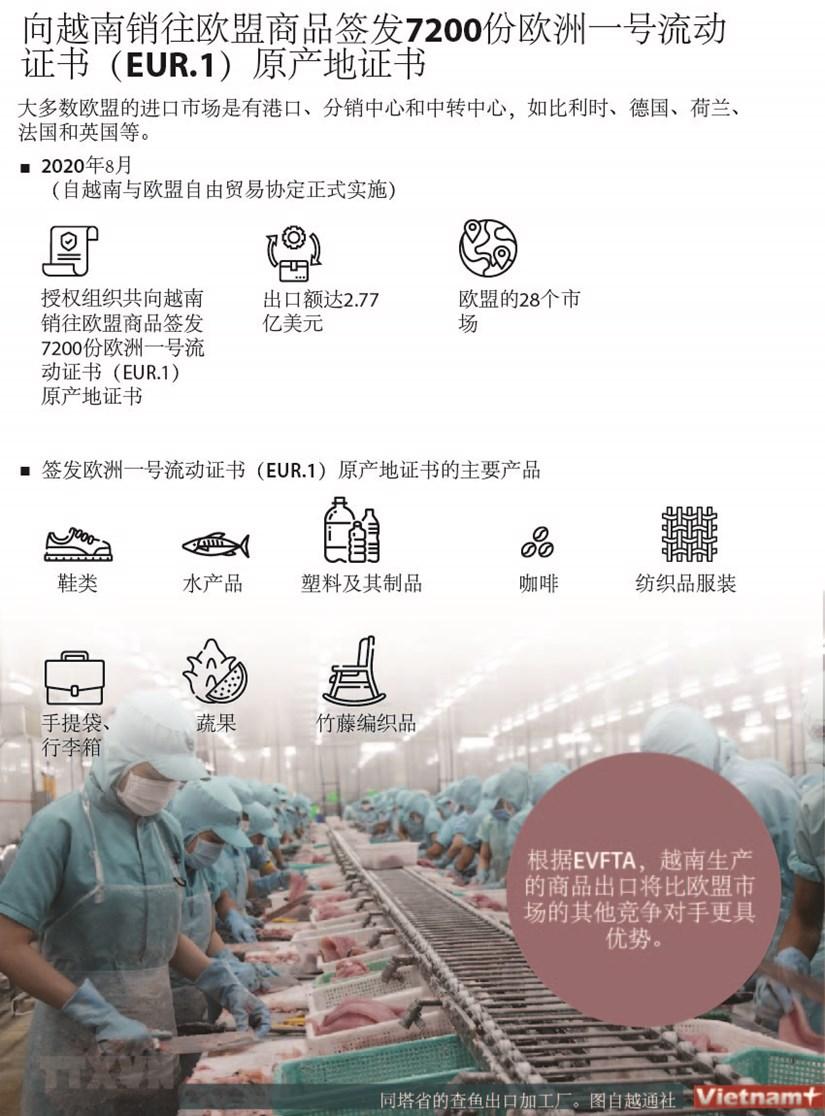 图表新闻:向越南销往欧盟商品签发7200份欧洲一号流动证书(EUR.1)原产地证书 hinh anh 1