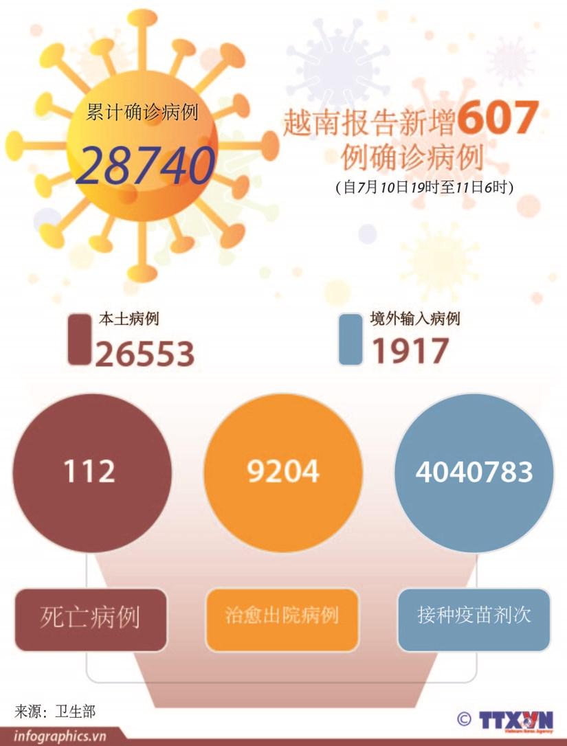 图表新闻:越南报告新增607例确诊病例 hinh anh 1