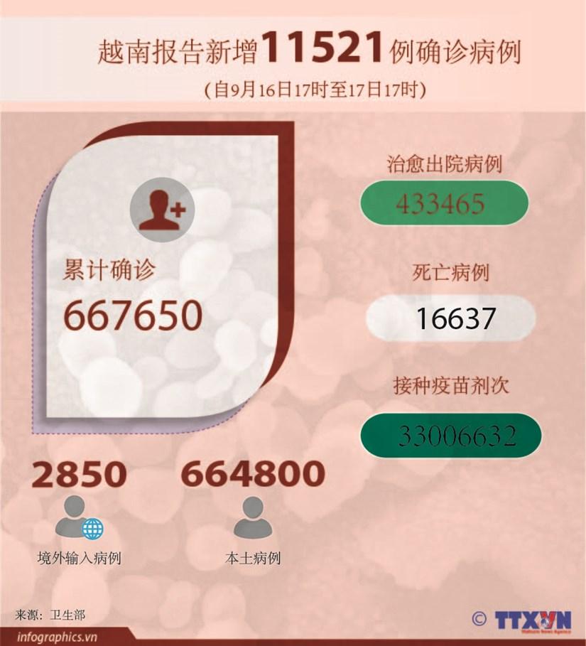 图表新闻:越南报告新增11521例确诊病例 新增死亡病例212例 hinh anh 1