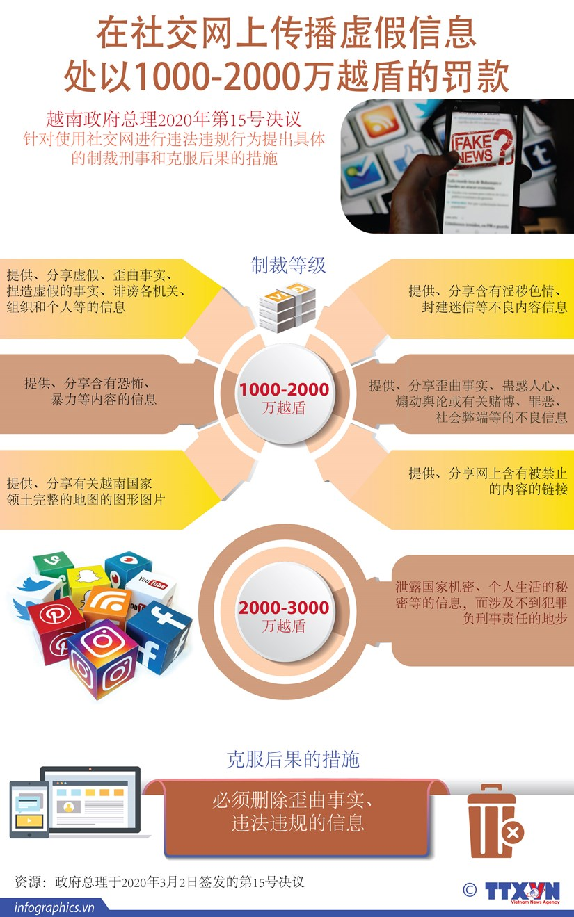 图表新闻:在社交网上传播虚假信息 处以1000-2000万越盾的罚款 hinh anh 1