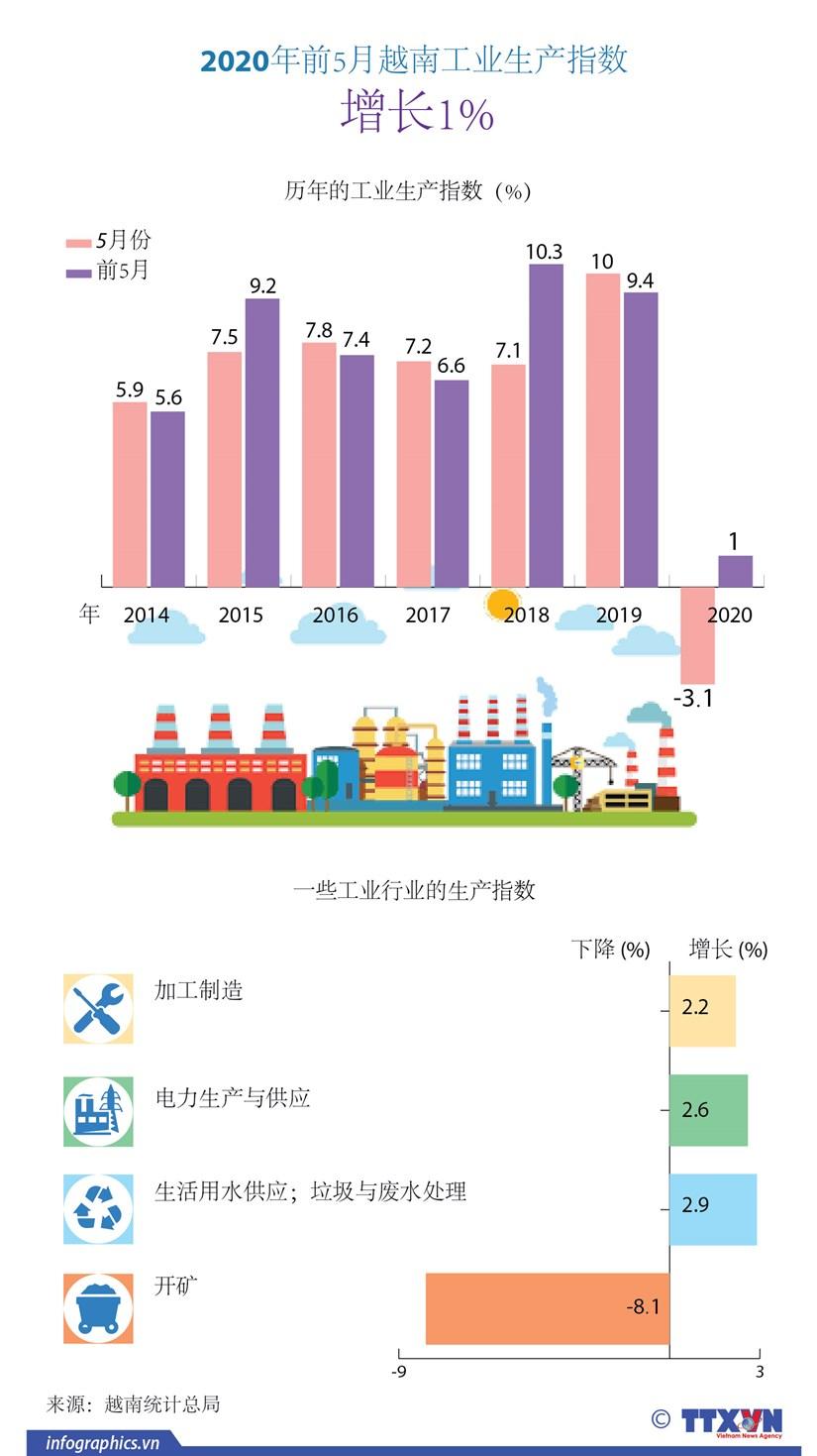 图表新闻:2020年前5月越南工业生产指数增长1% hinh anh 1
