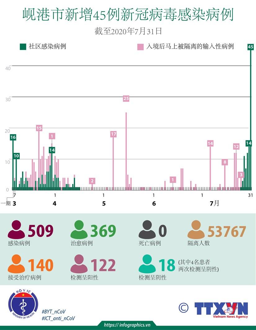 图表新闻:新冠肺炎疫情:岘港市新增45例社区感染病例 hinh anh 1