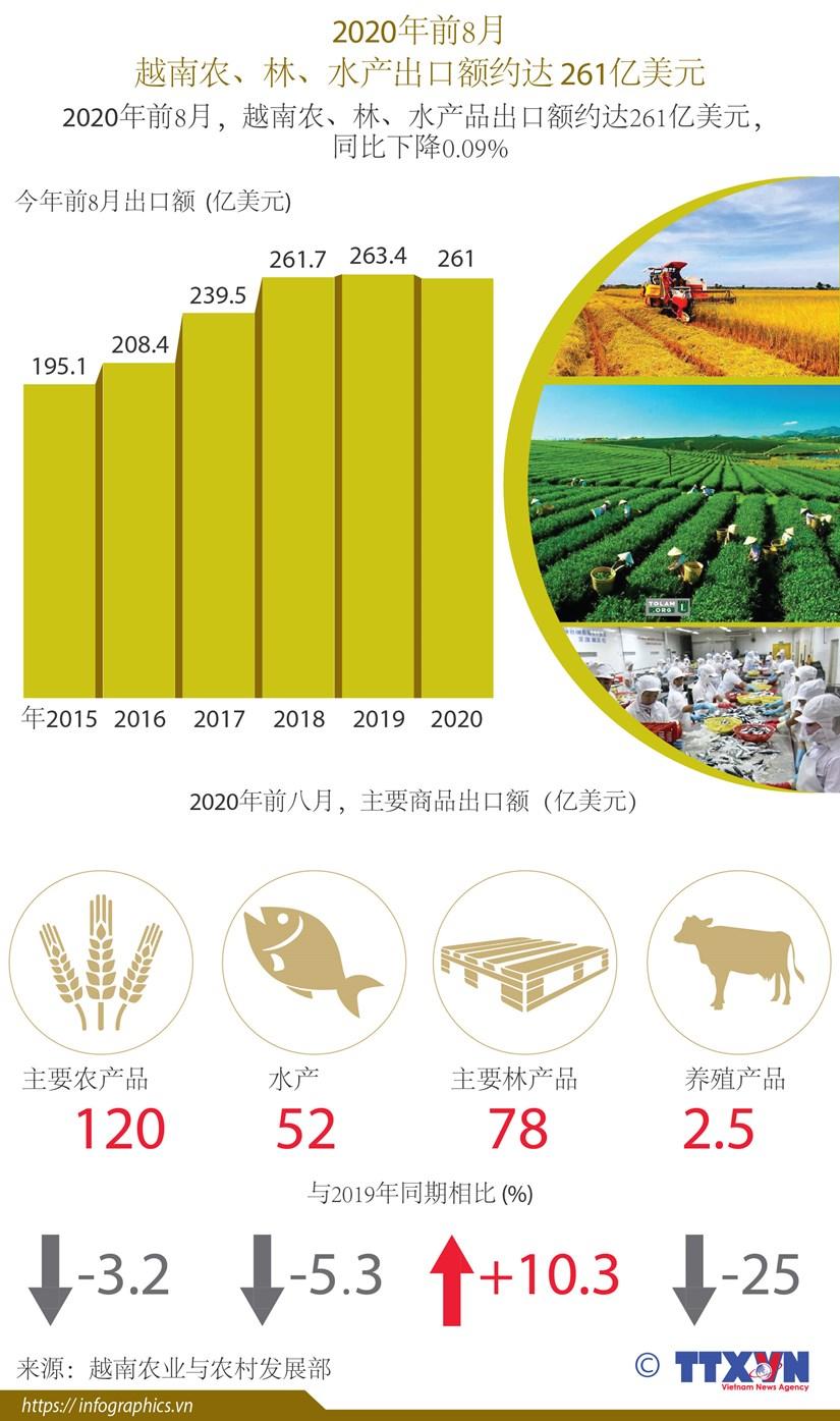 图表新闻:前8月,越南农、林、水产品出口额约达261亿美元 hinh anh 1
