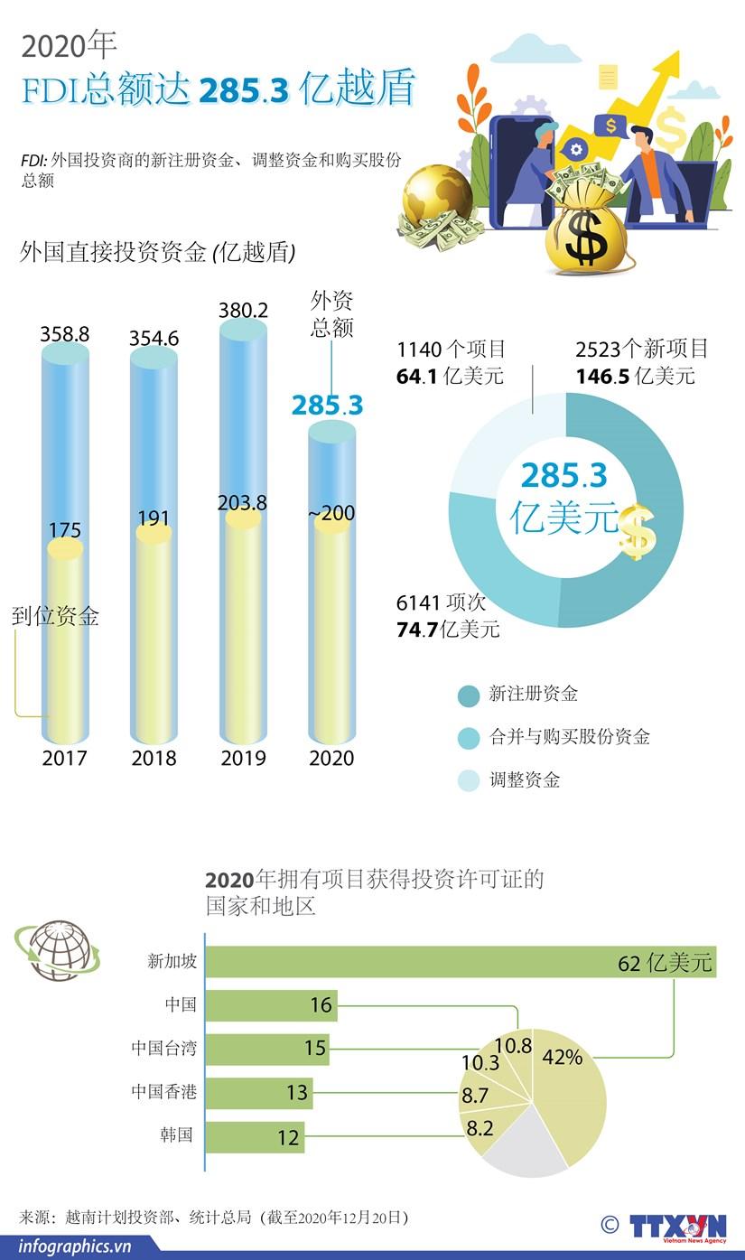 图表新闻:2020年越南FDI总额达 285.3 亿越盾 hinh anh 1