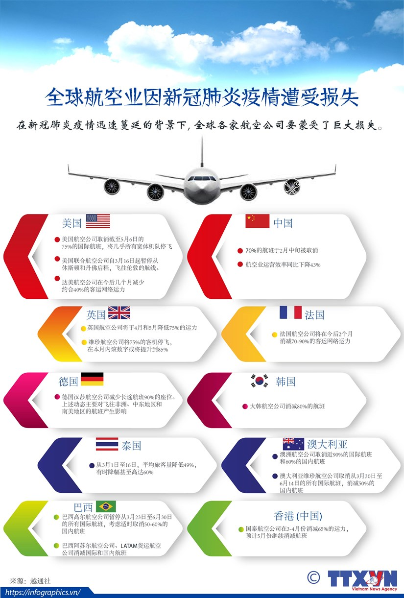 图表新闻:全球航空业因新冠肺炎疫情遭受损失 hinh anh 1