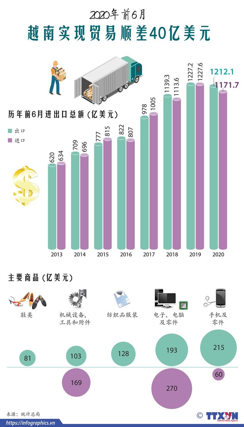 图表新闻:2020年前6月越南实现贸易顺差40亿美元 hinh anh 1