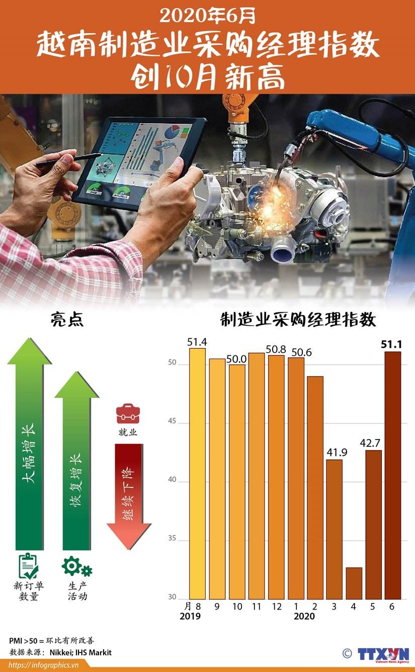 图表新闻:2020年6月越南制造业采购经理指数创10月新高 hinh anh 1