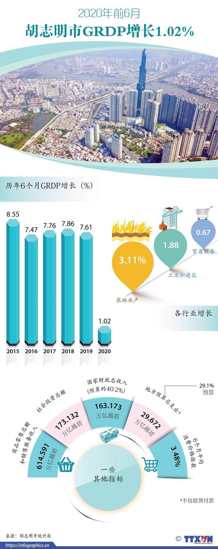 图表新闻:2020年前6月胡志明市GRDP 增长1.02% hinh anh 1