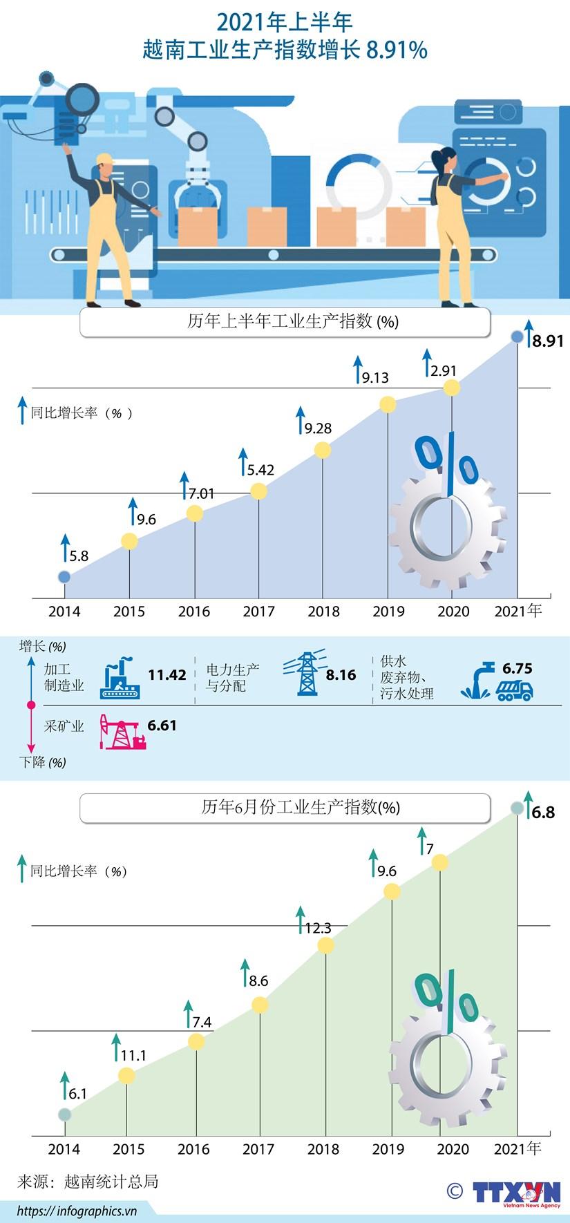 图表新闻:2021年上半年越南工业生产指数增长8.91% hinh anh 1