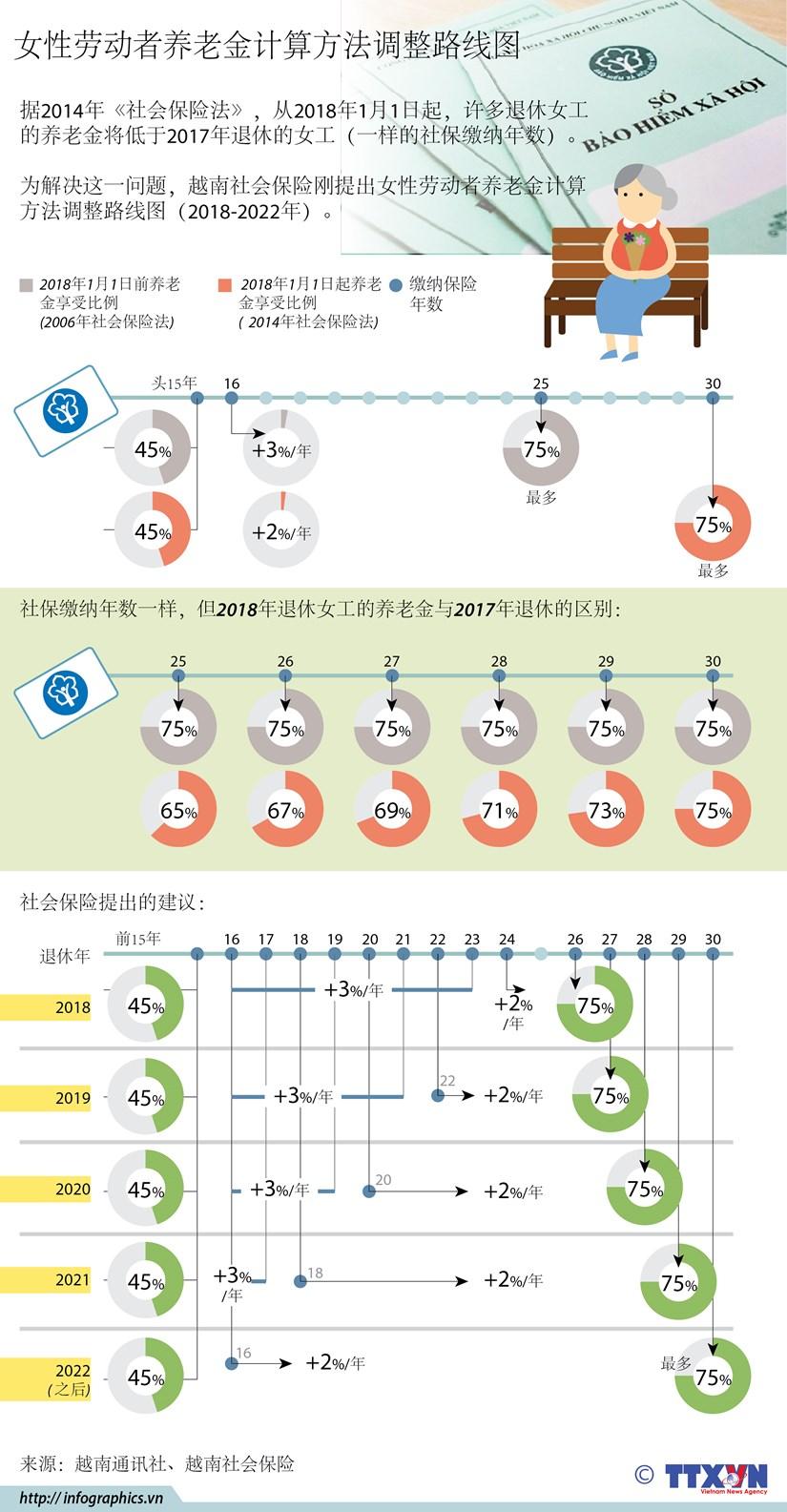 图表新闻:女性劳动者养老金计算方法调整路线图 hinh anh 1