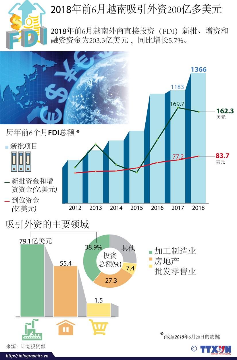 图表新闻:2018年前6月越南吸引外资200亿多美元 hinh anh 1