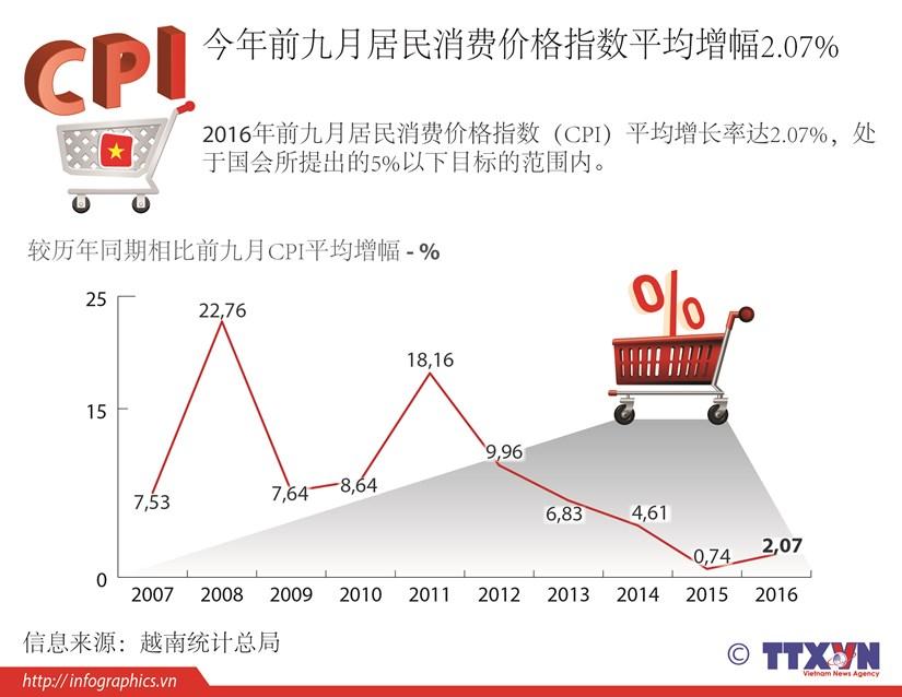 今年前九月居民消费价格指数平均增幅2.07% hinh anh 1