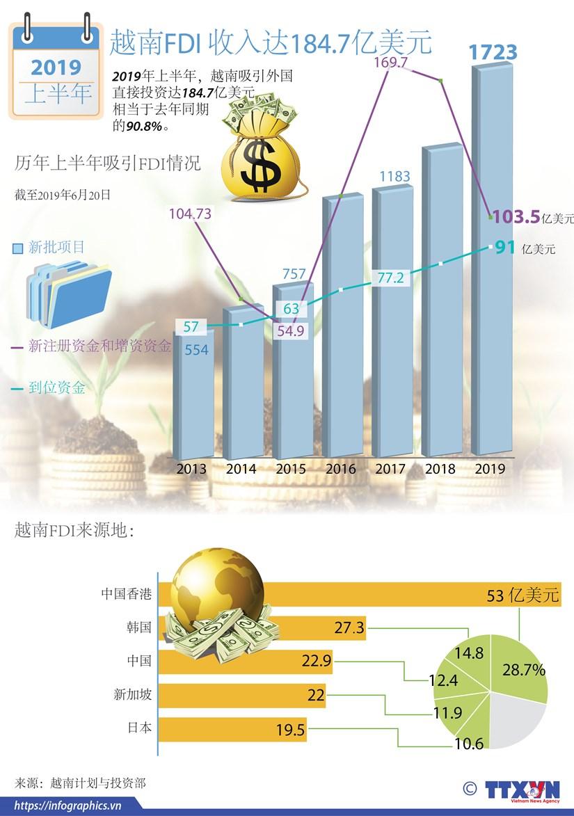 图表新闻:2019年上半年越南吸引FDI达184.7亿美元 hinh anh 1