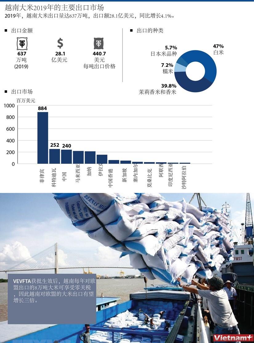 图表新闻:越南大米2019年的主要出口市场 hinh anh 1