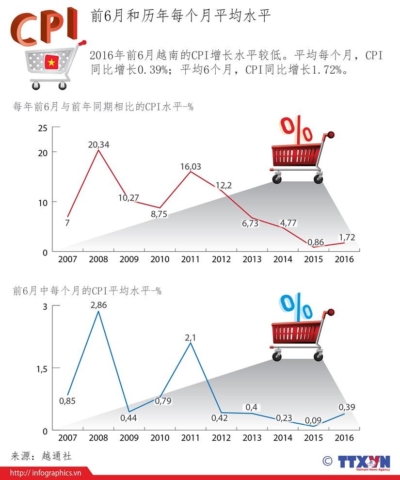 2016年前6月越南的CPI增长水平较低 hinh anh 1