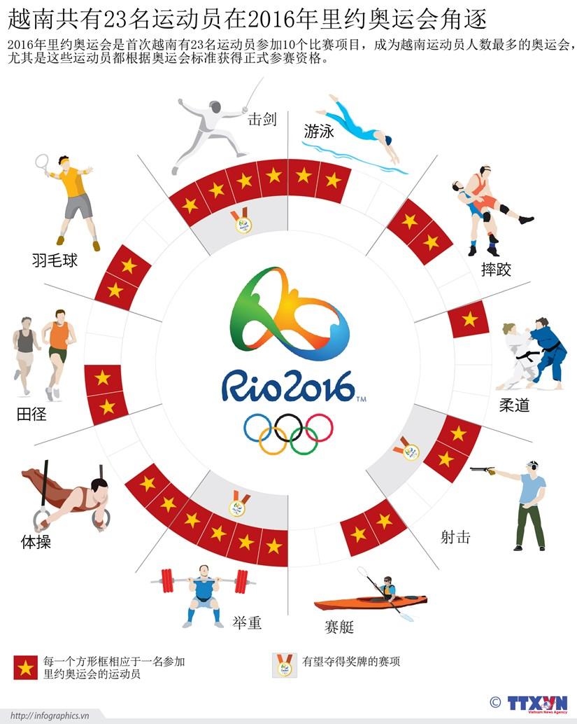 越南共有23名运动员在2016年里约奥运会角逐 hinh anh 1